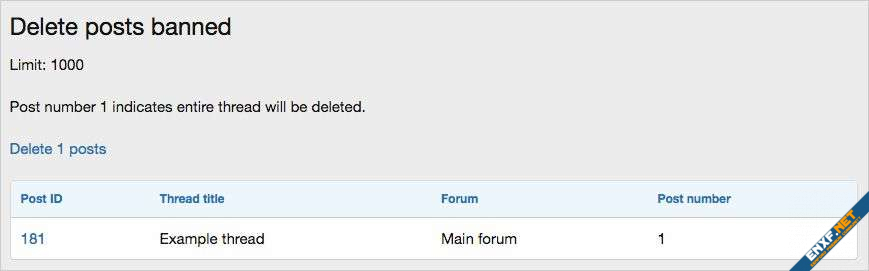 AndyB Delete posts banned