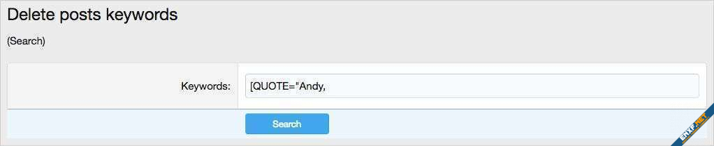 AndyB Delete posts keywords