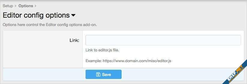 Editor config options