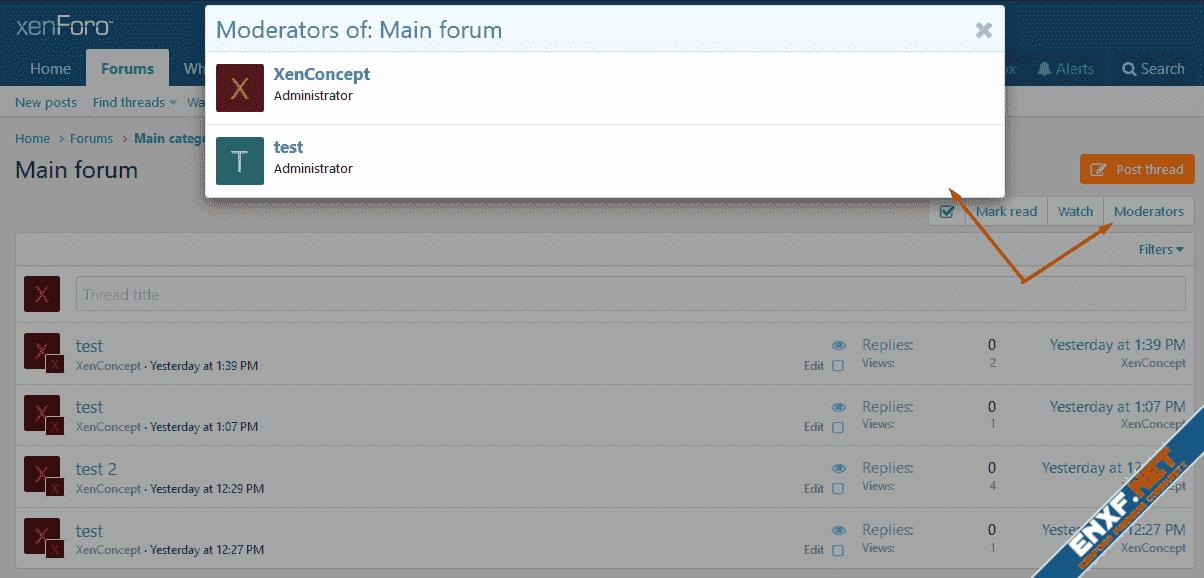 [XenConcept] Show Forum / Category Moderators