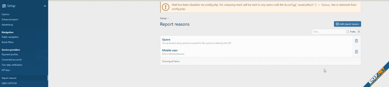 Report reasons