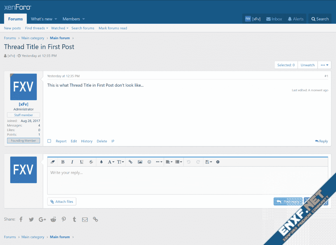 [xFv] Thread Title in First Post