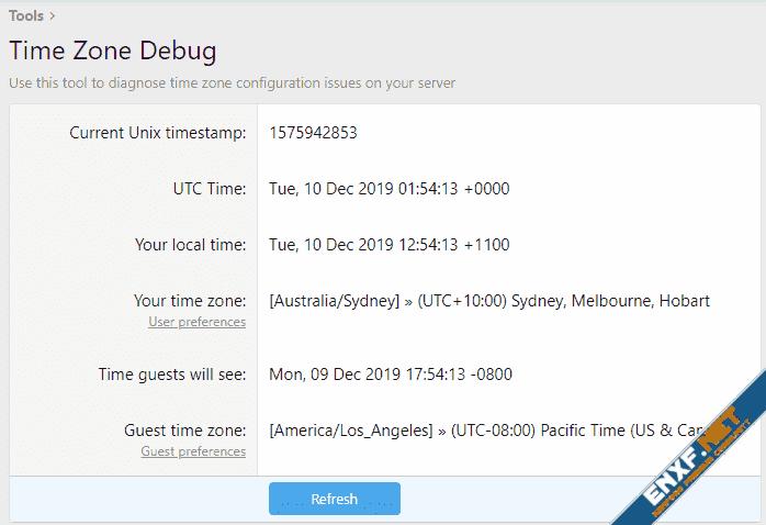 Time Zone Debug