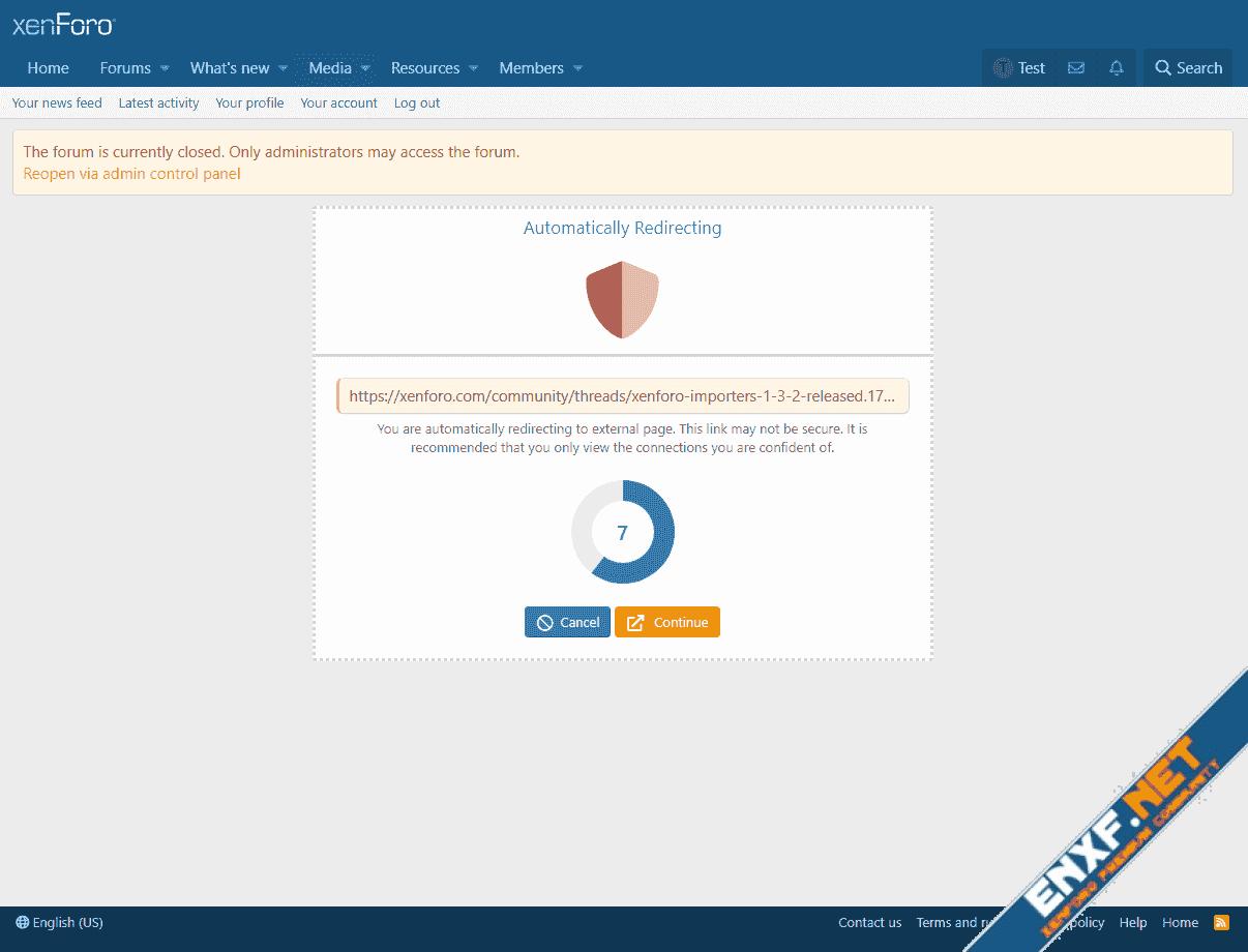 [XTR] External Links Redirect Warning