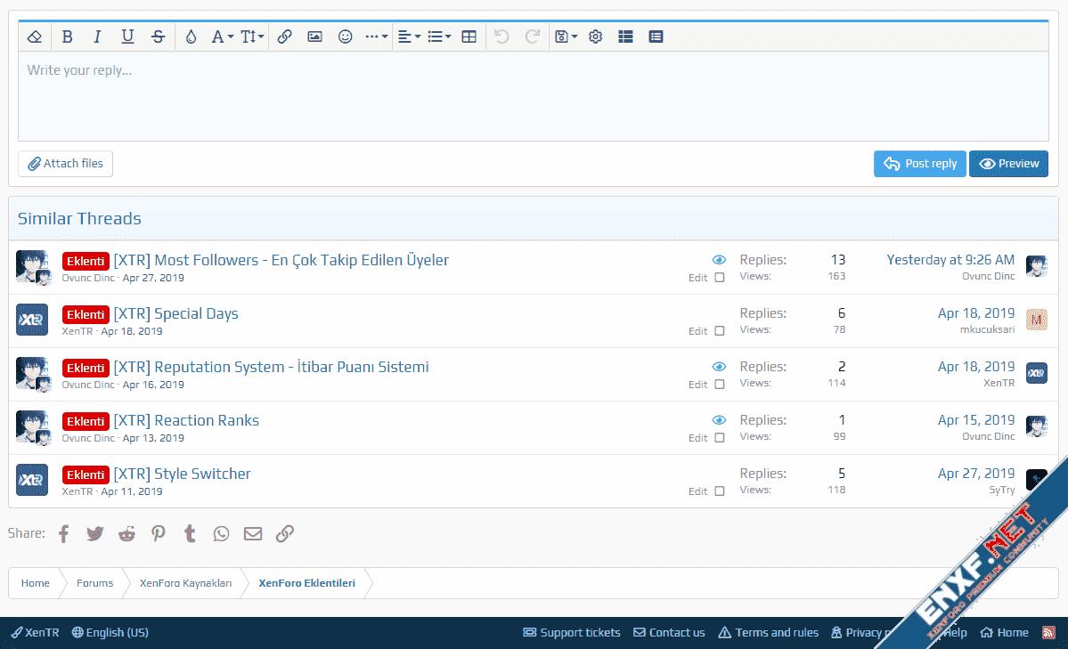 [XTR] Similar Threads Options - Benzer Konular